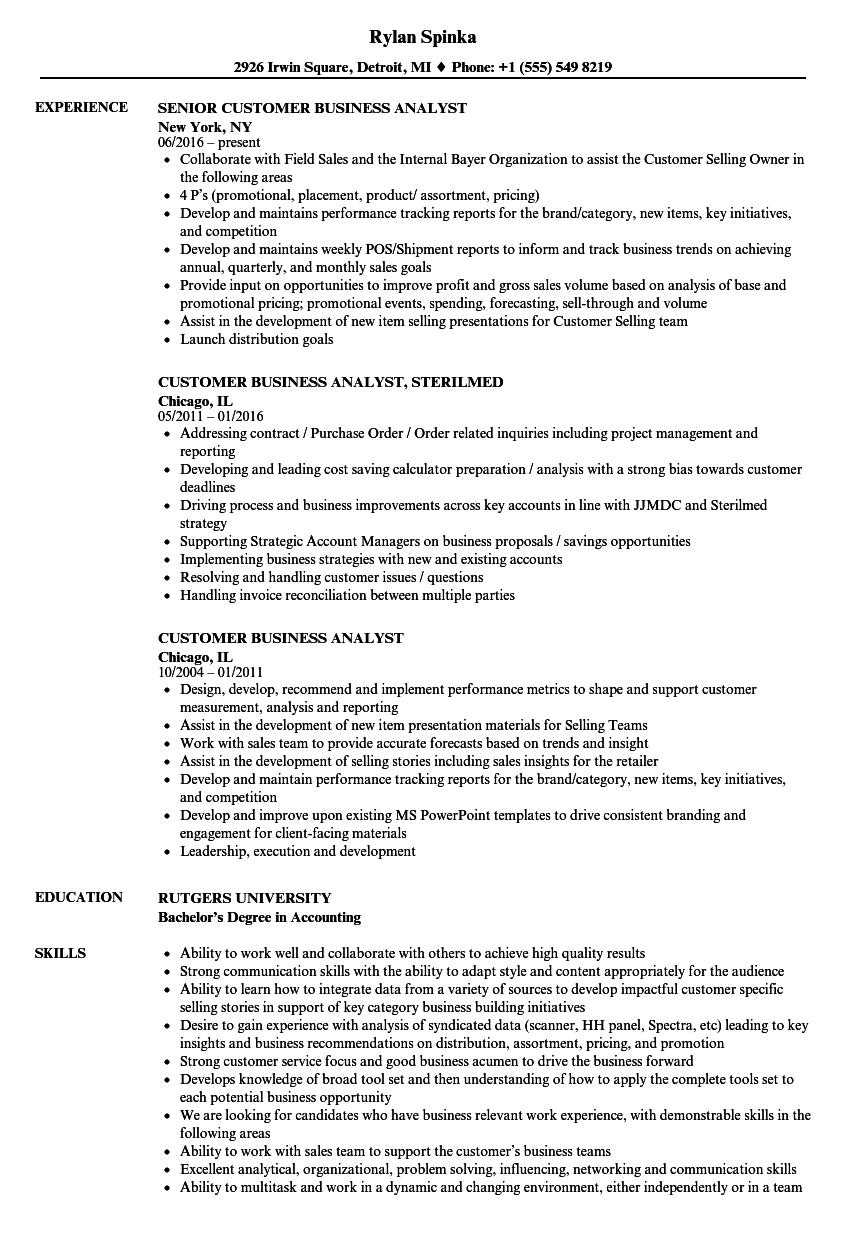 download customer business analyst resume sample as image file - Sample Of Business Analyst Resume