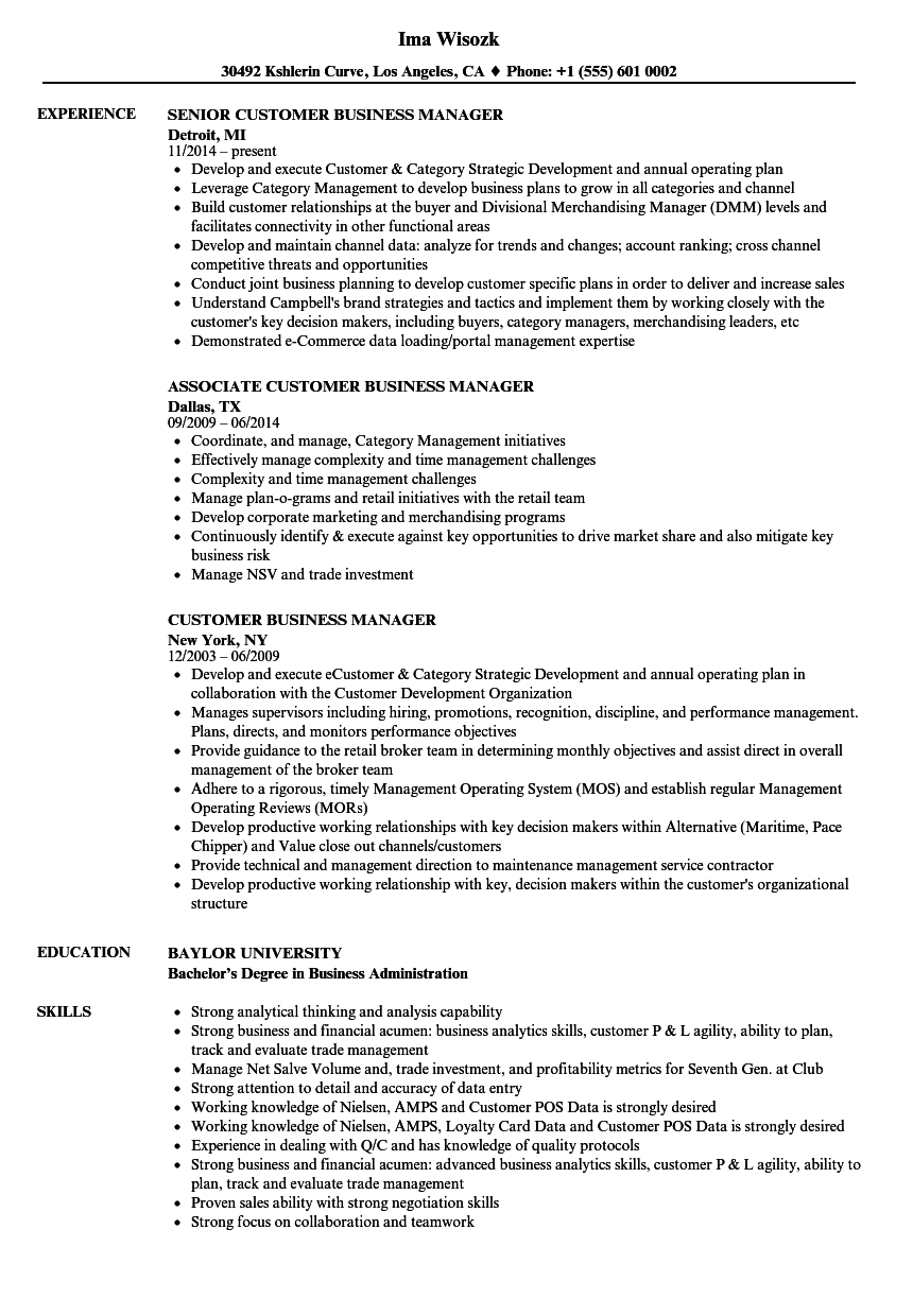 customer business manager resume samples