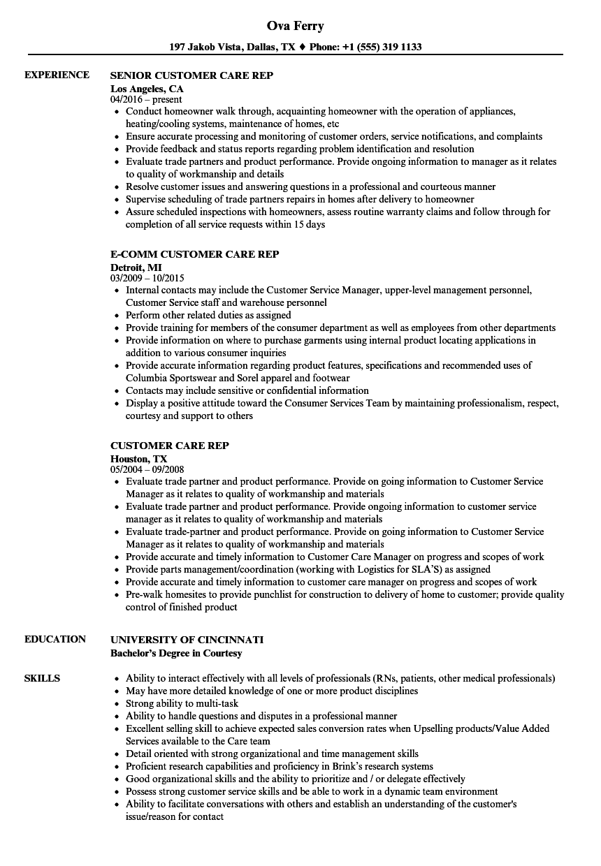 Download Customer Care Rep Resume Sample As Image File   Resume S  Nursing Resumes
