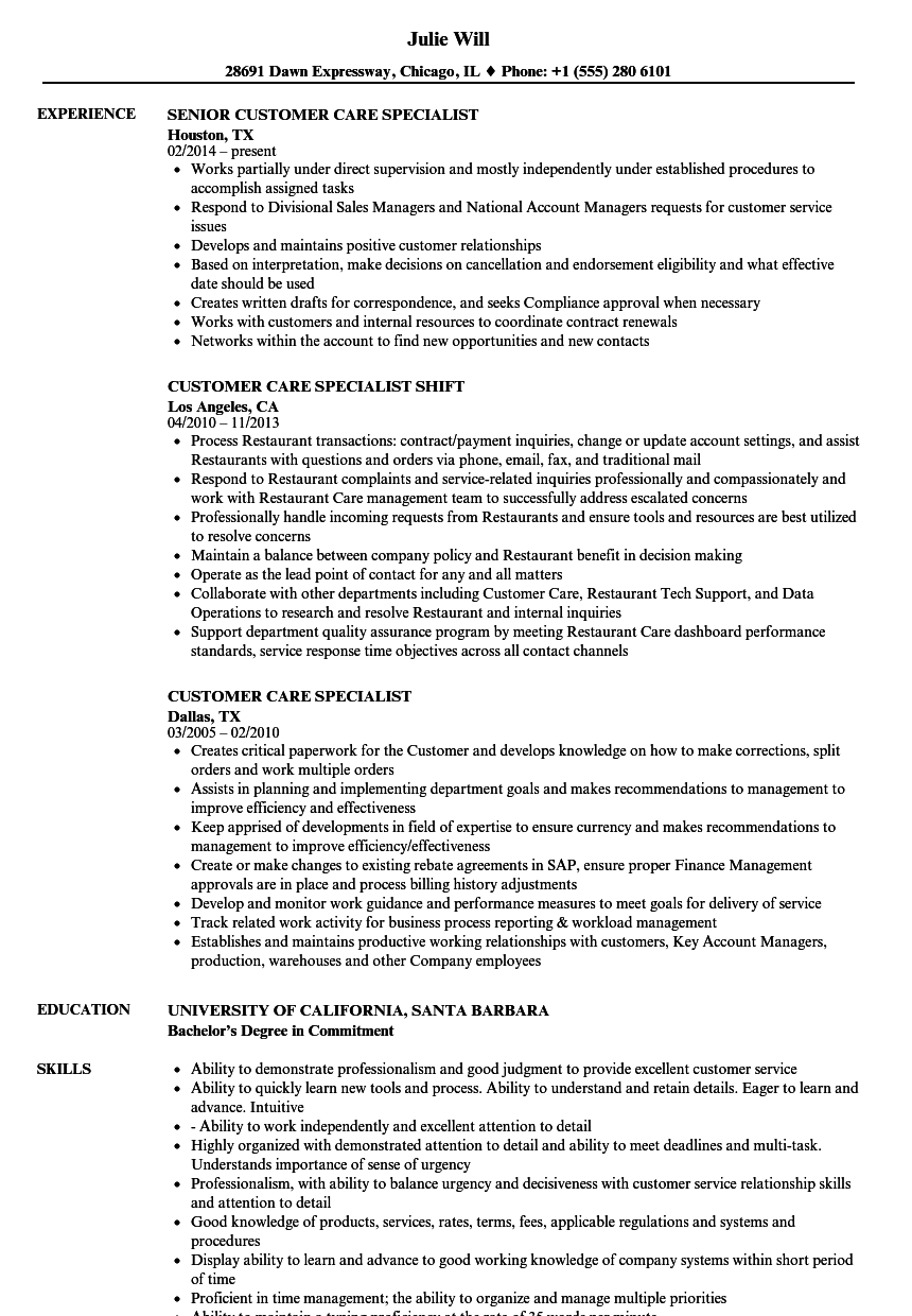 customer care specialist resume samples