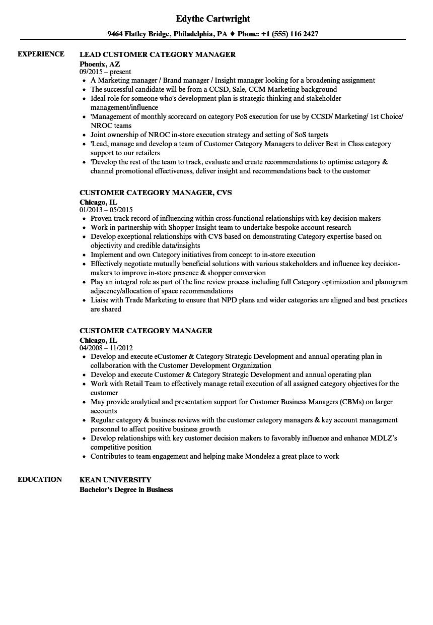 customer category manager resume samples