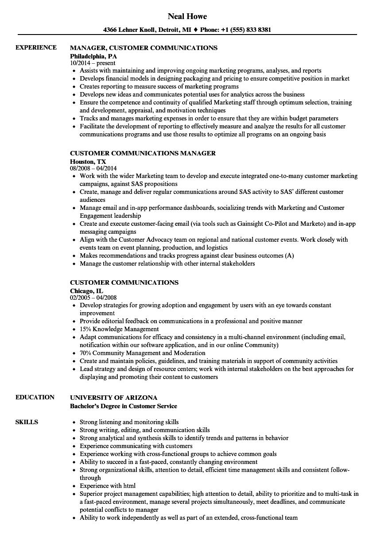 customer communications resume samples