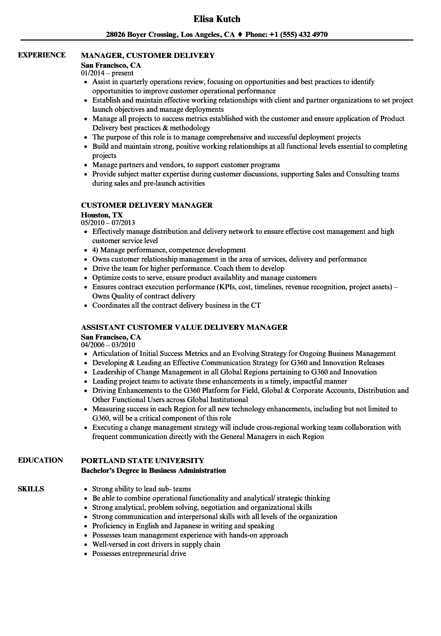 Customer Delivery Manager Resume Samples Velvet Jobs