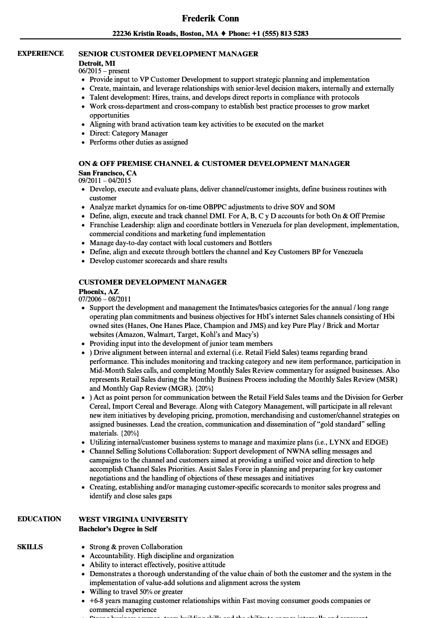 customer development manager resume samples