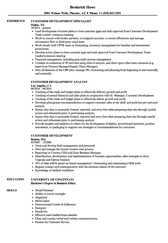 customer development resume samples