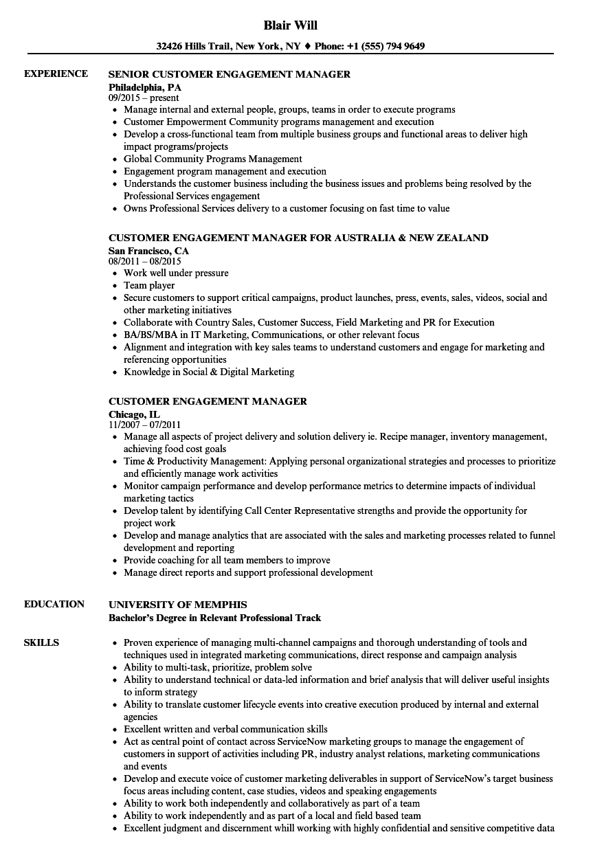 Employee Engagement Manager Resume Senior Client Engagement Manager ...