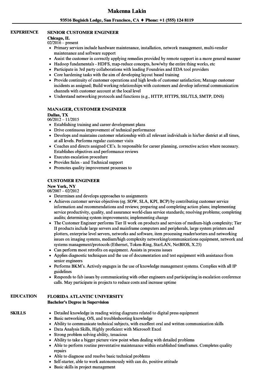 customer engineer resume samples