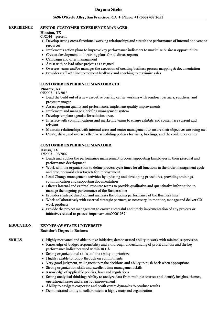 Customer Experience Manager Resume Samples | Velvet Jobs