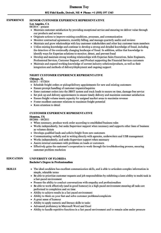 Customer Experience Representative Resume Samples Velvet Jobs