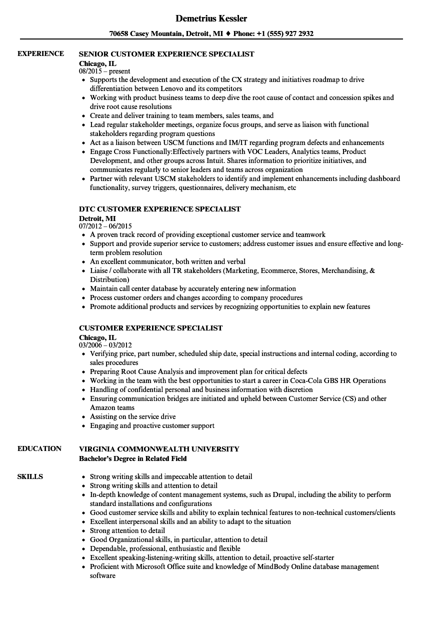 customer experience specialist resume samples