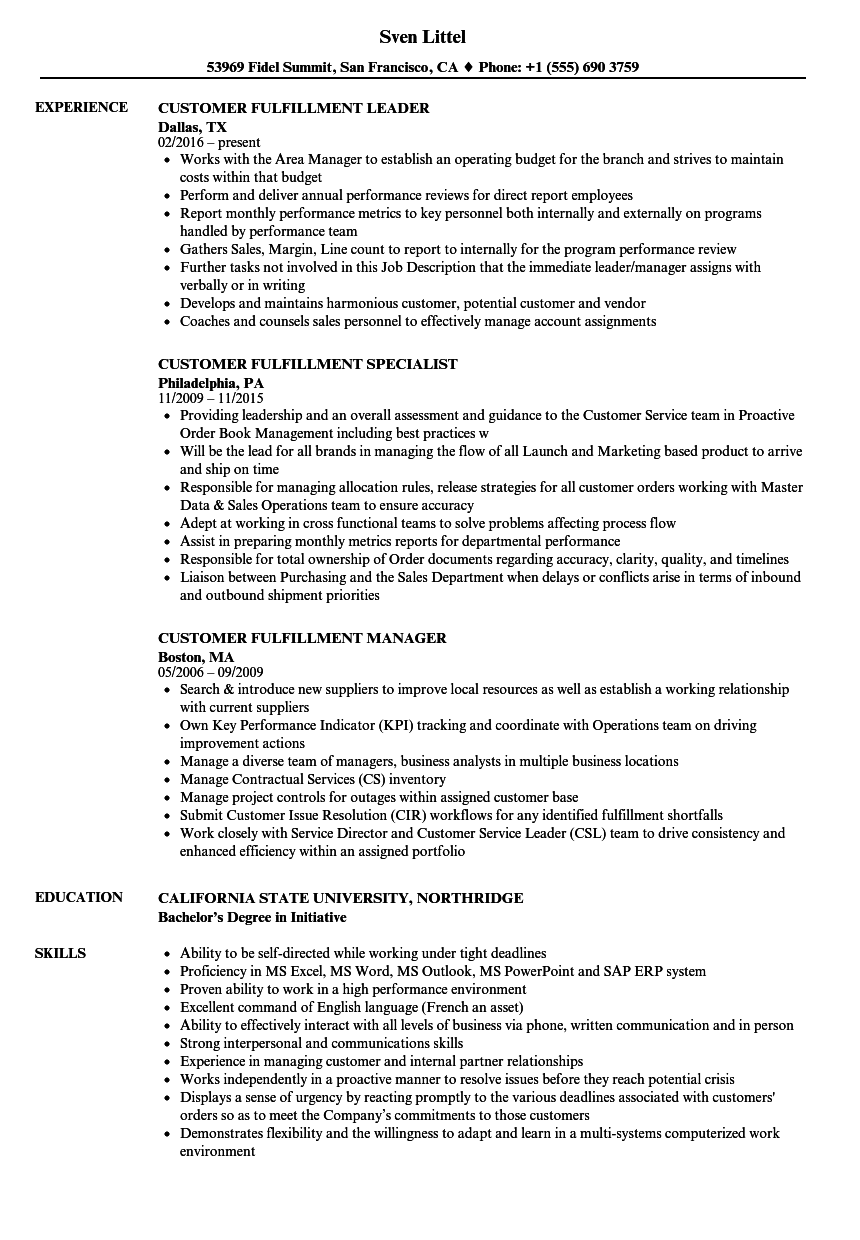 Customer Fulfillment Resume Samples Velvet Jobs