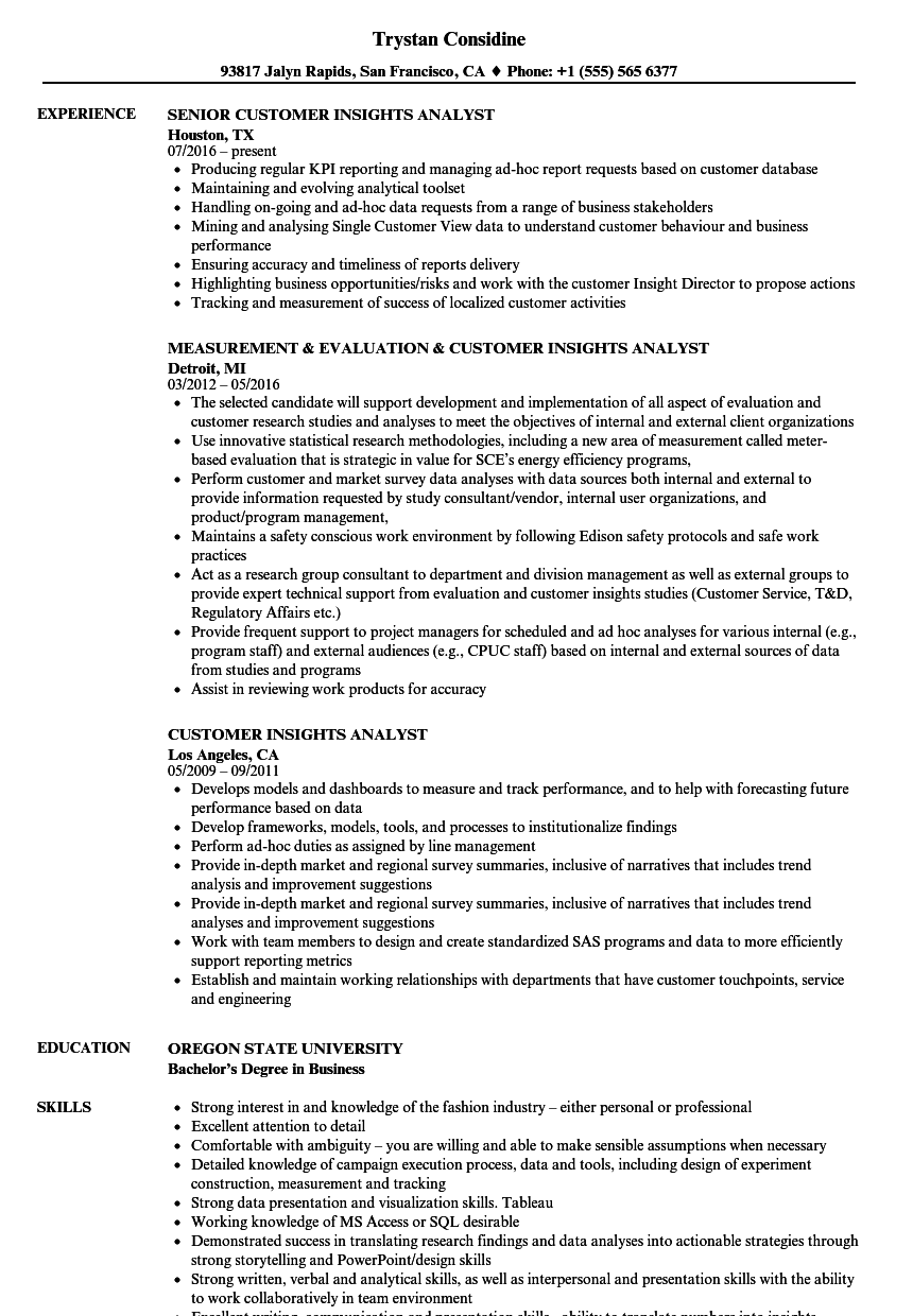 customer insights analyst resume samples