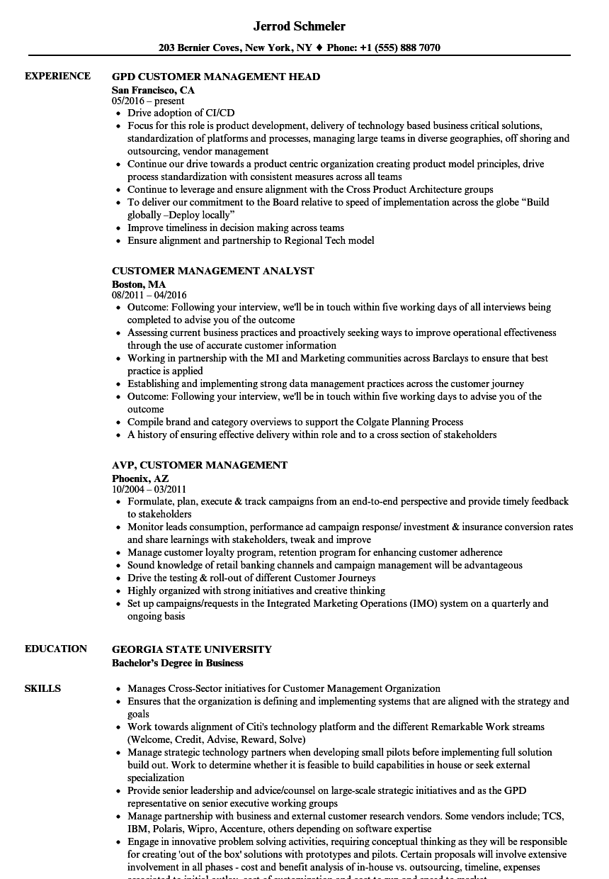 customer management resume samples