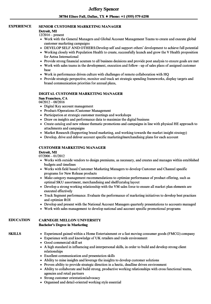 Customer Marketing Manager Resume Samples Velvet Jobs