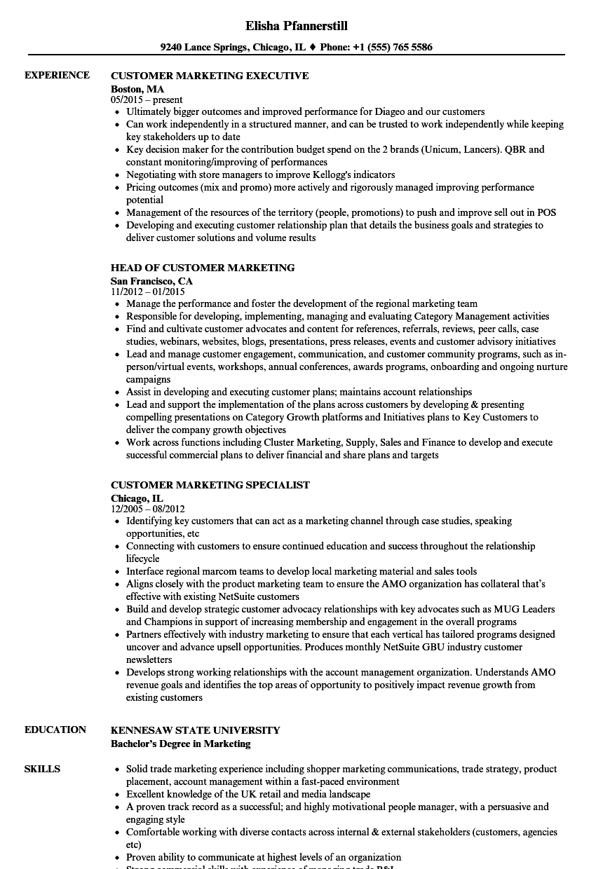 Customer Marketing Resume Samples Velvet Jobs