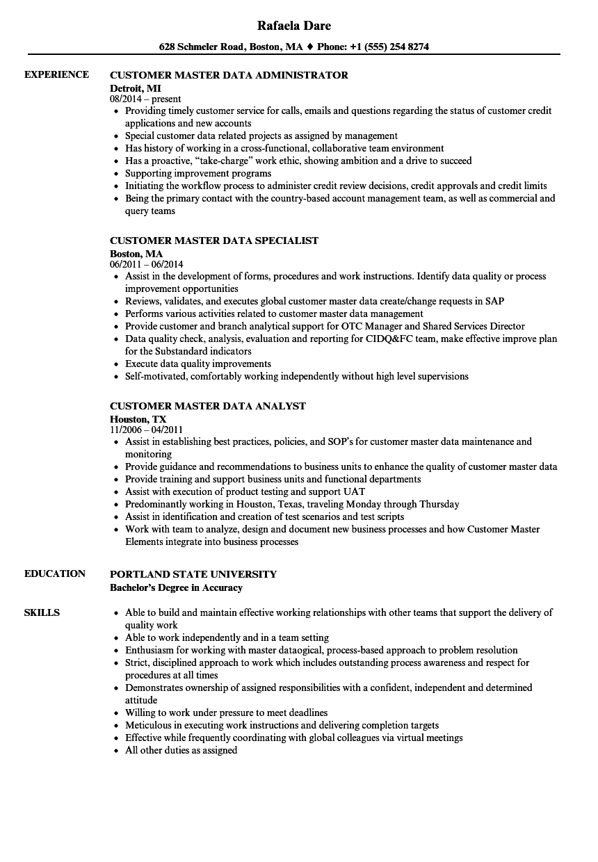 Customer Master Data Resume Samples | Velvet Jobs