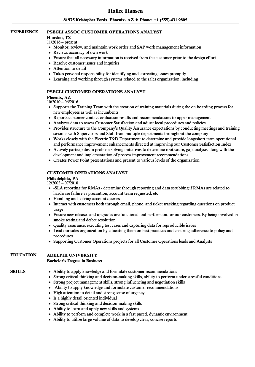 customer operations analyst resume samples