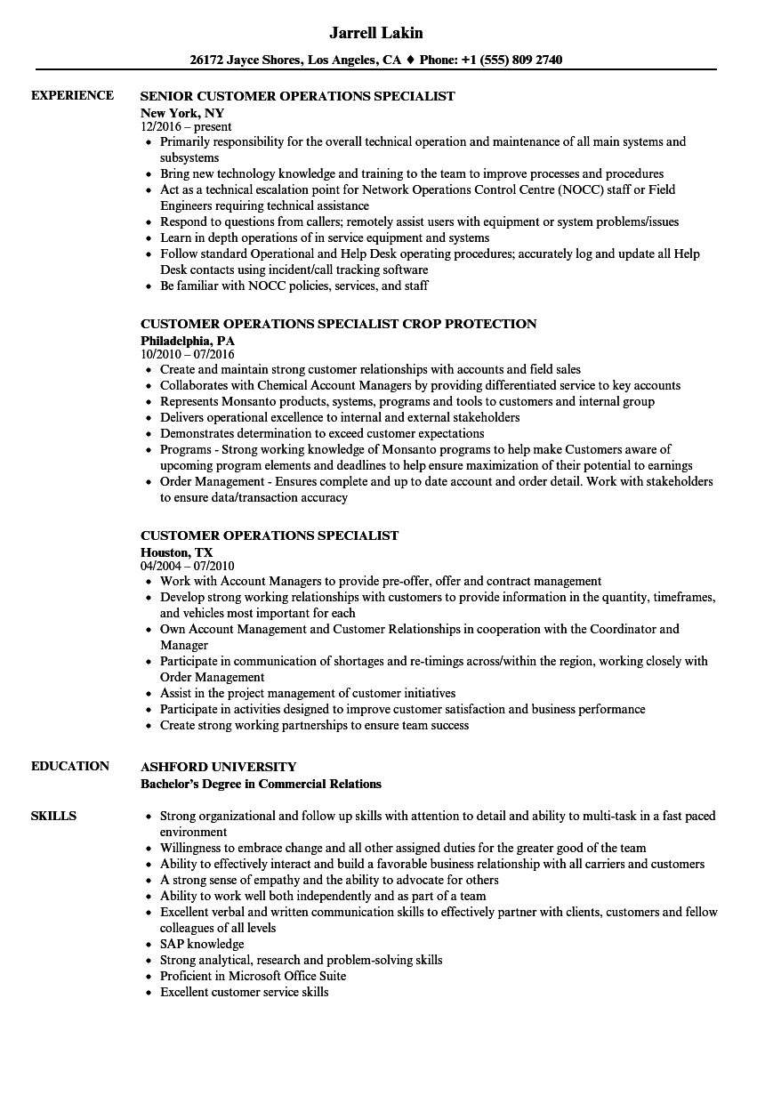 Customer Operations Specialist Resume Samples Velvet Jobs