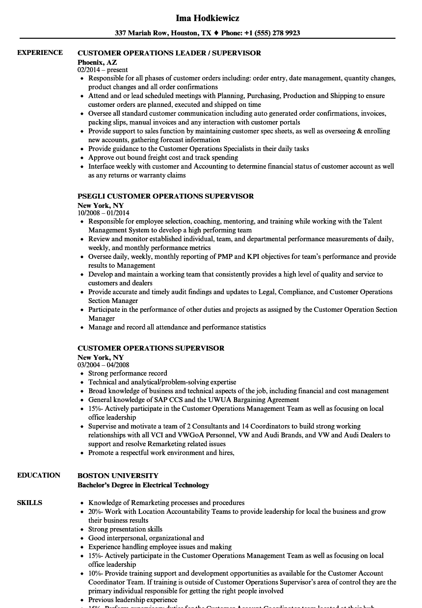 customer operations supervisor resume samples