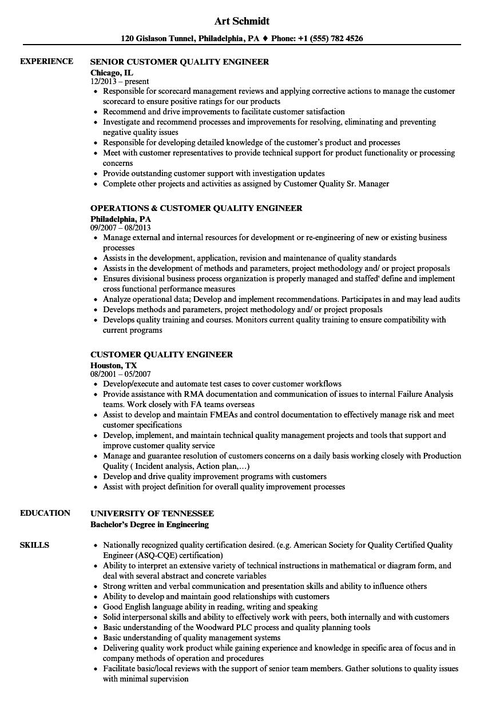 customer quality engineer resume samples