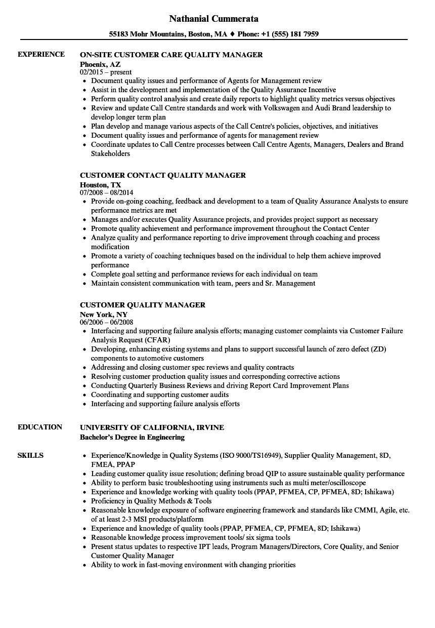 Download Customer Quality Manager Resume Sample As Image File