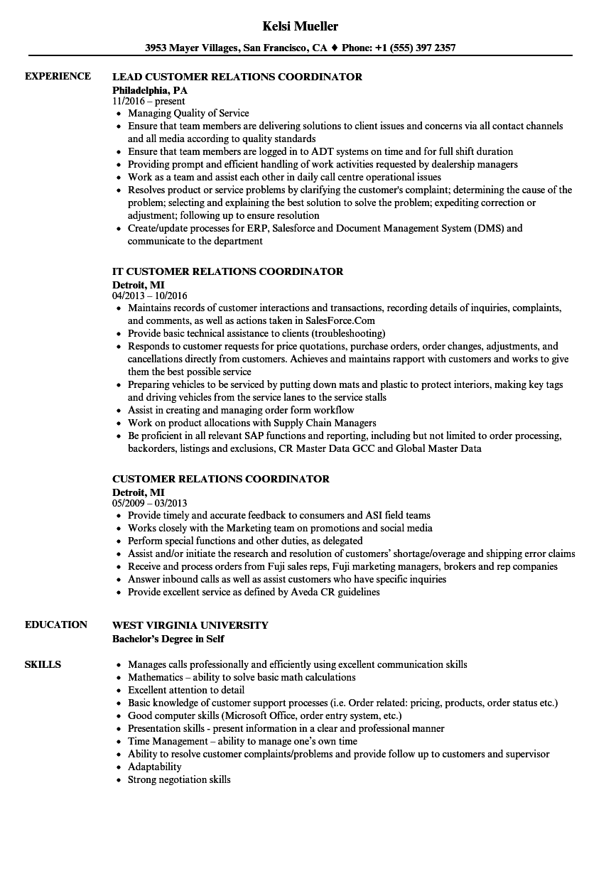 customer relations coordinator resume samples