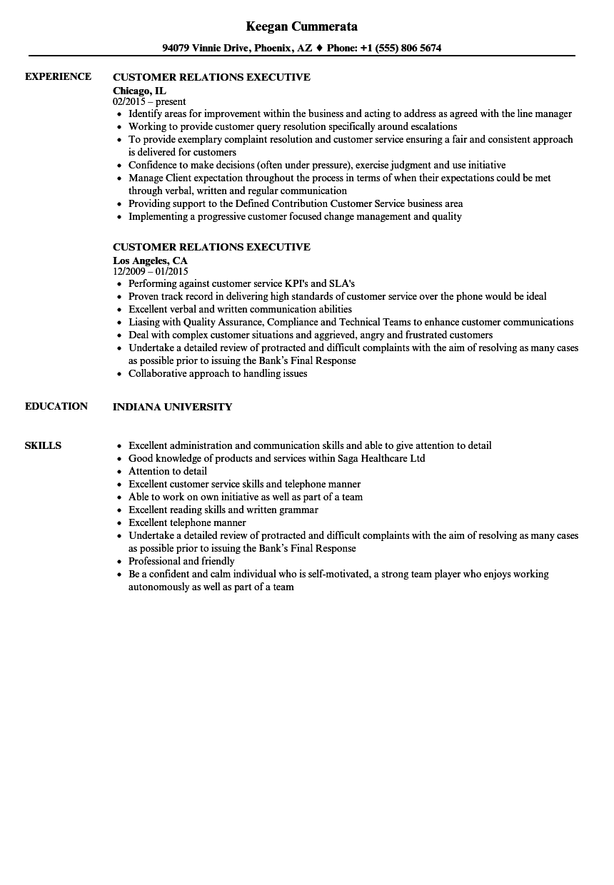 customer relations executive resume samples