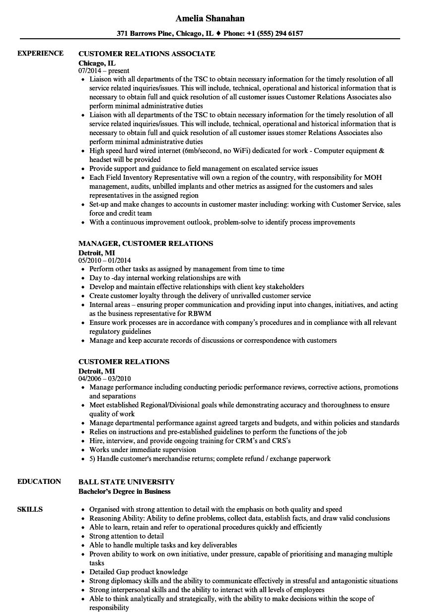 customer relations resume samples