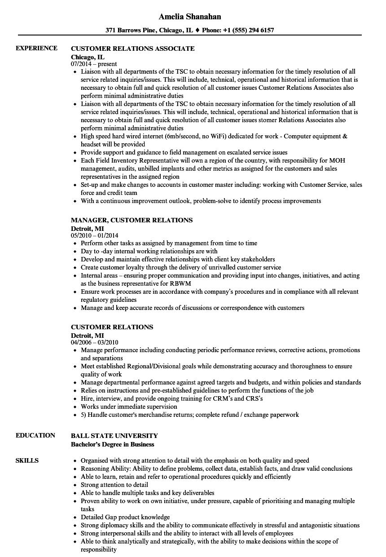 customer relations resume samples velvet jobs