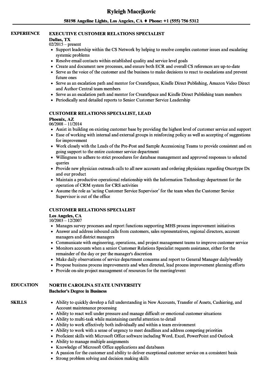 customer relations specialist resume samples velvet jobs
