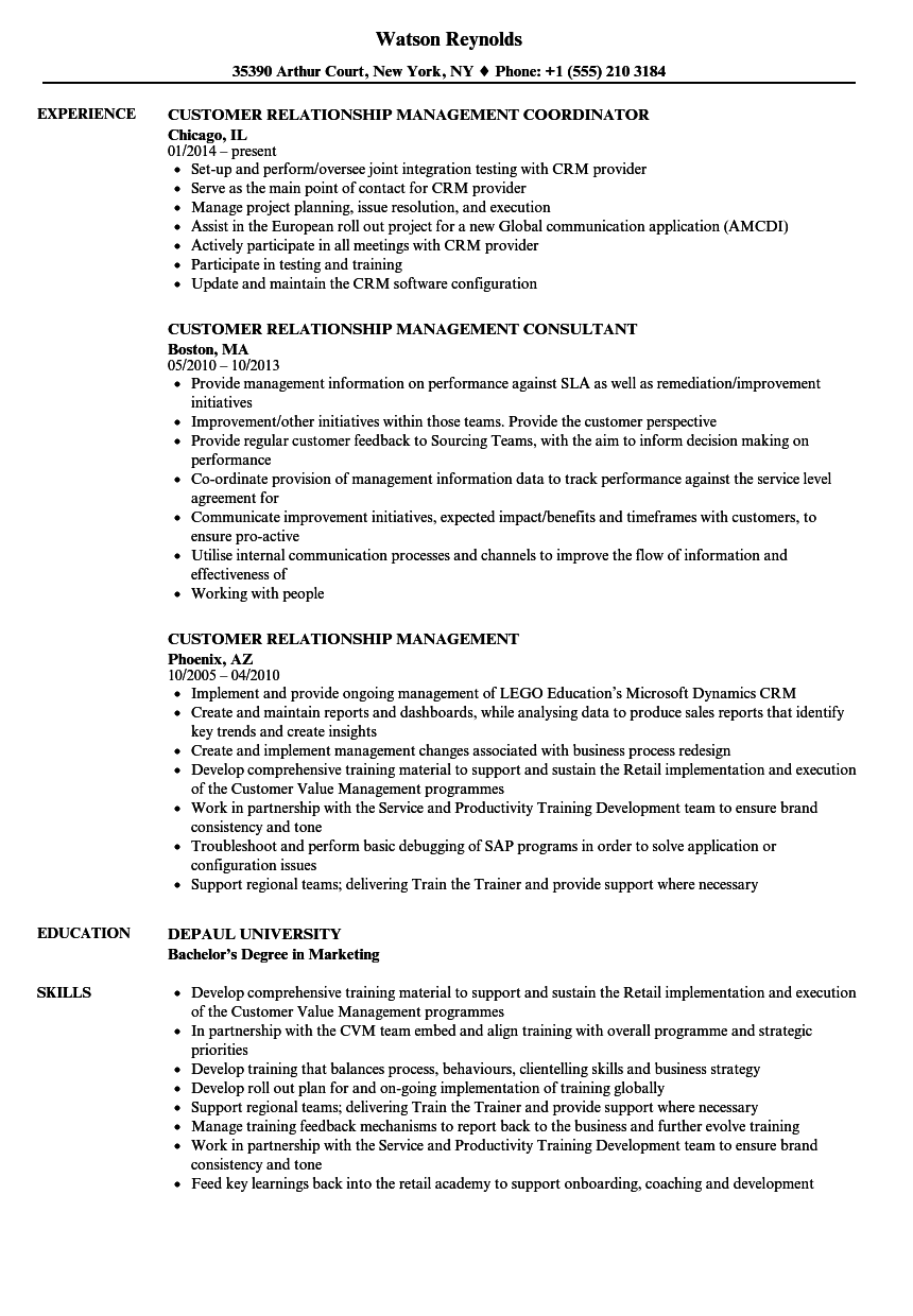 customer relationship management resume samples