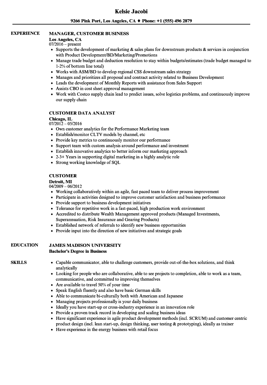 Customer Resume Samples | Velvet Jobs