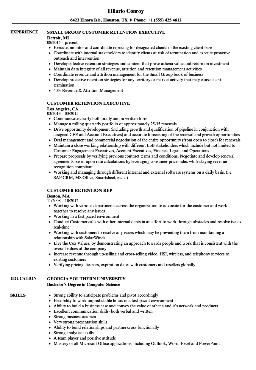 Download Customer Retention Resume Sample As Image File