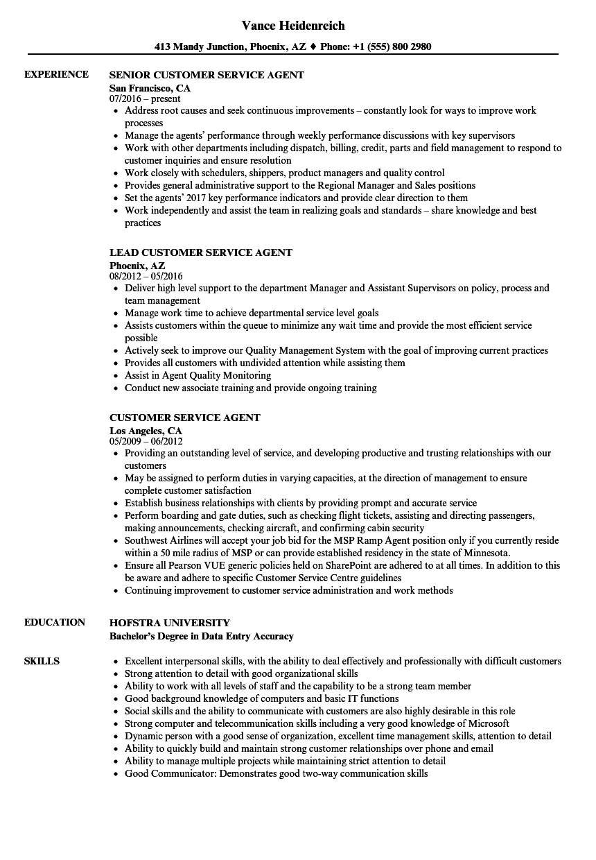 Customer Service Agent Resume Samples Velvet Jobs