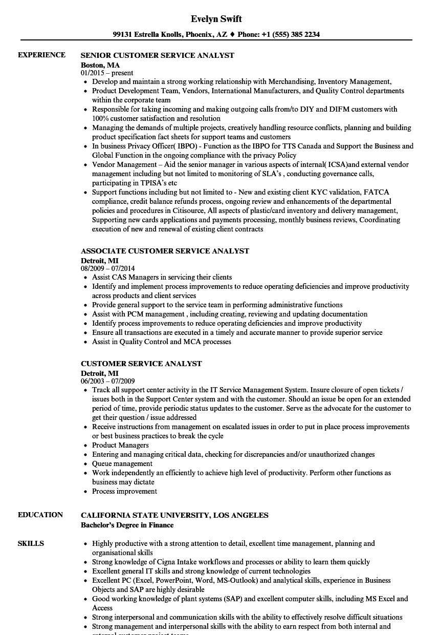 customer service analyst resume samples