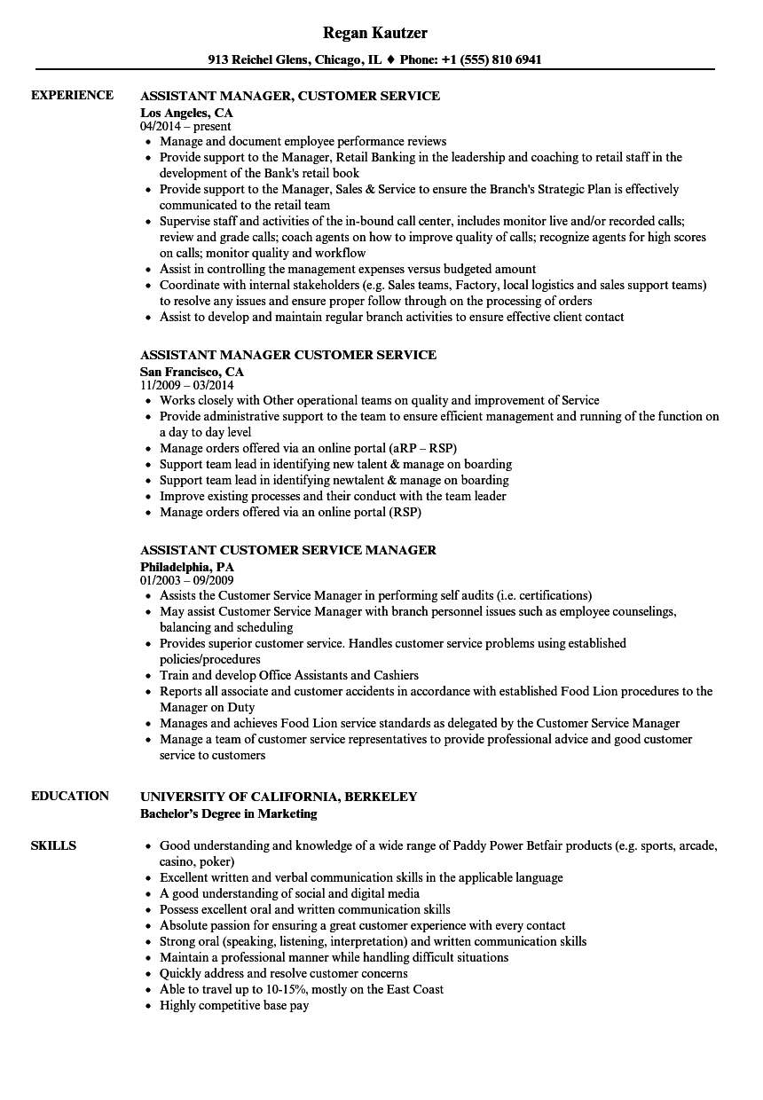 customer service assistant manager resume samples