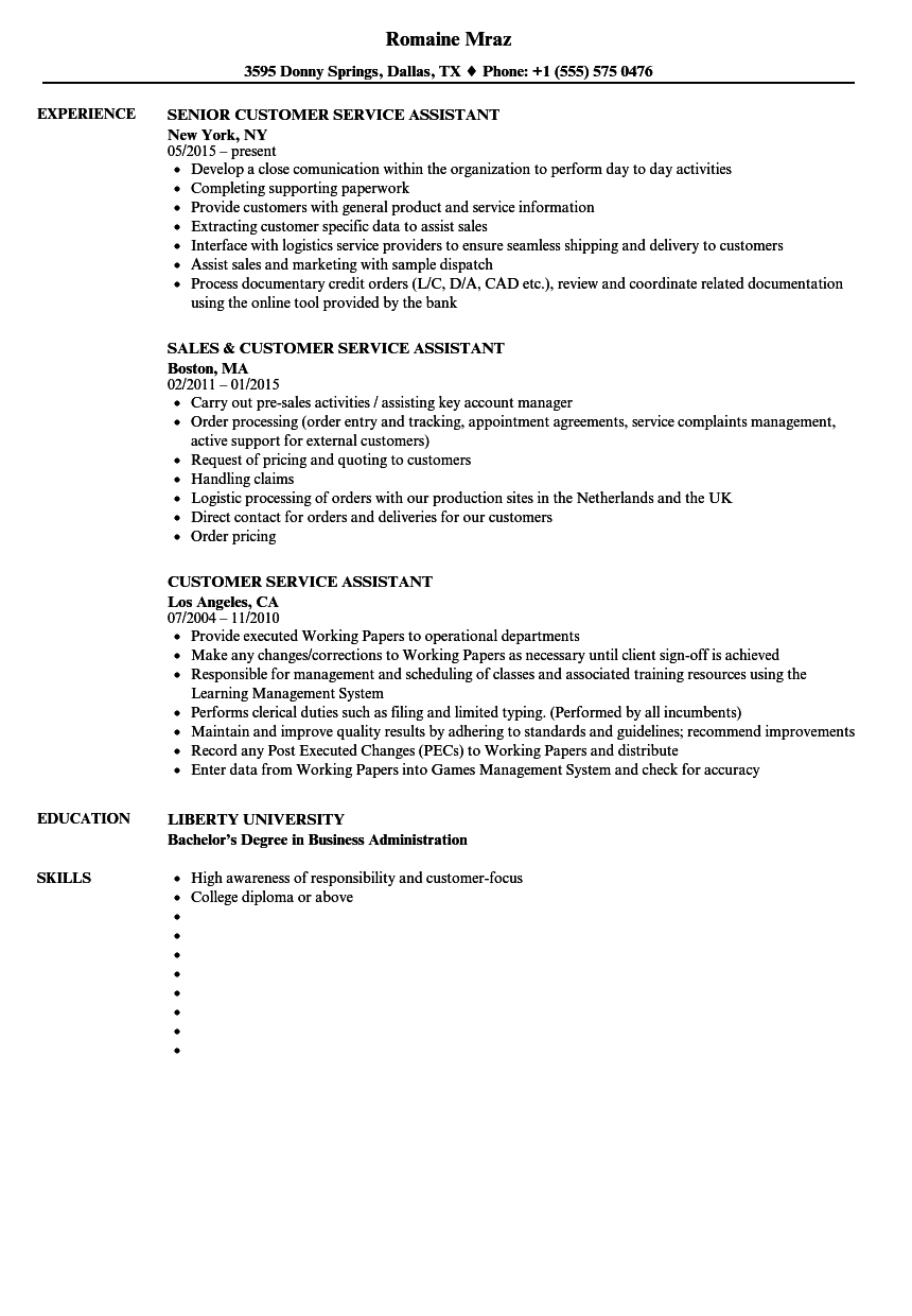 Customer Service Assistant Resume. communicative resources in esl ...