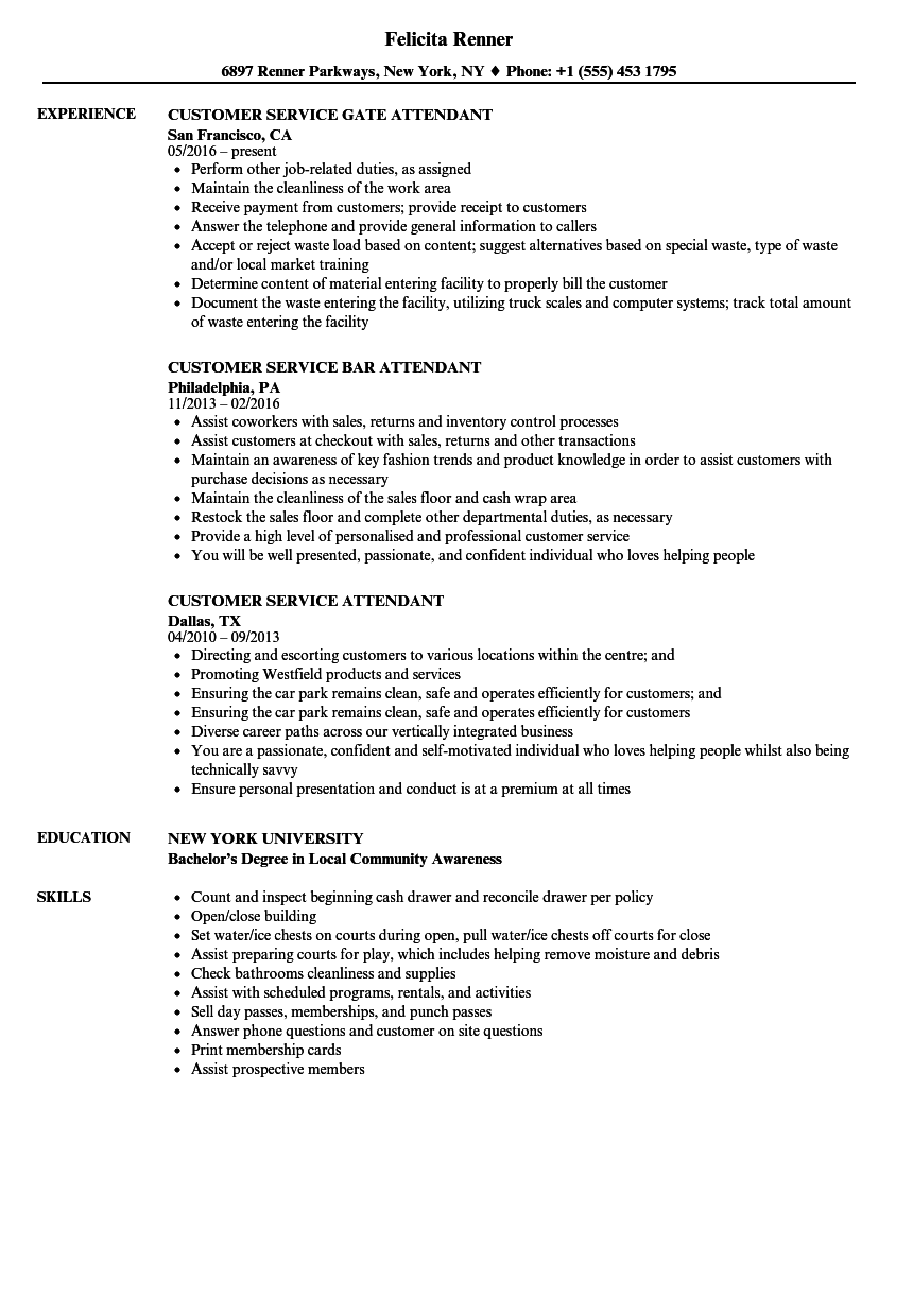 Customer Service Attendant Resume Samples | Velvet Jobs