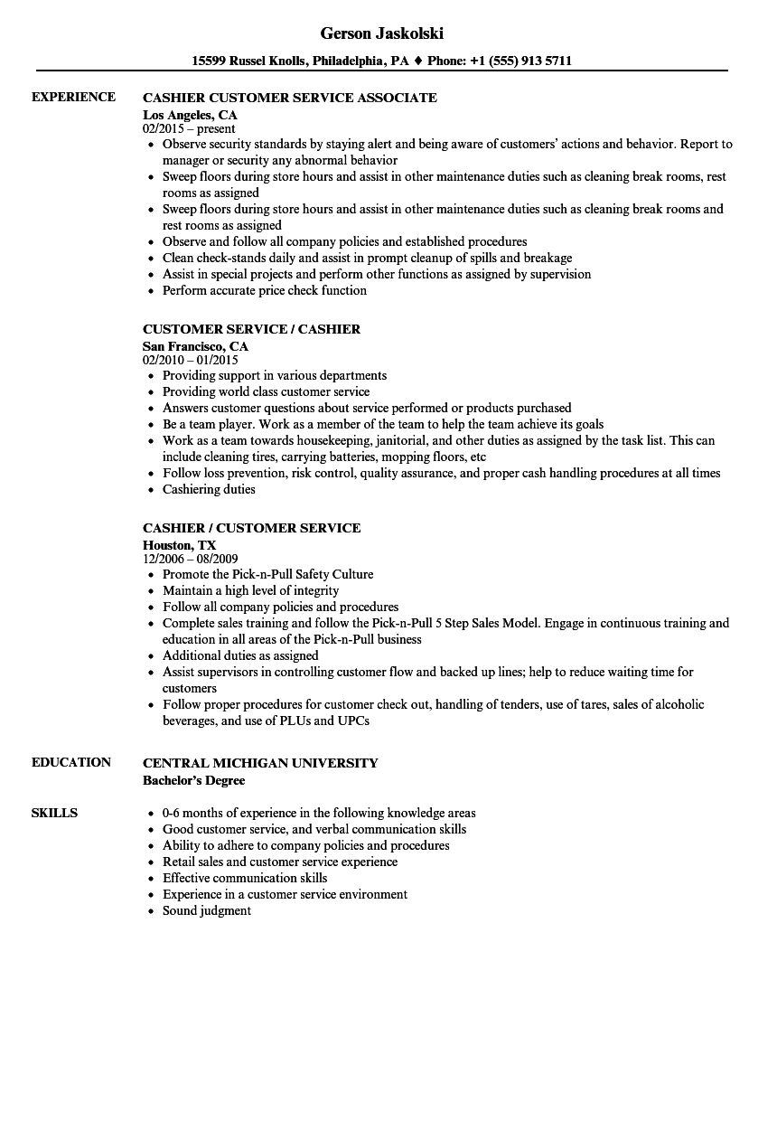 customer service cashier resume samples