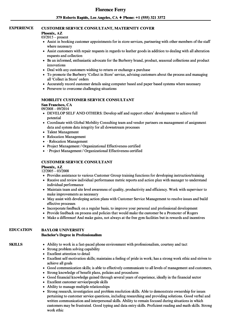 customer service consultant resume samples