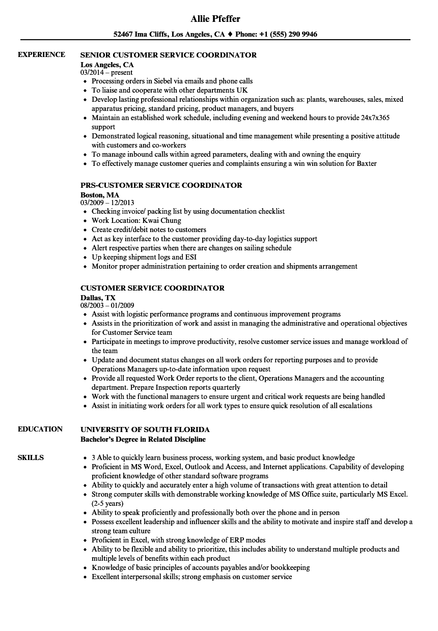 customer service coordinator resume samples