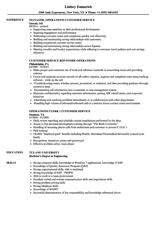 Customer Service / Customer Operations Resume Samples | Velvet Jobs