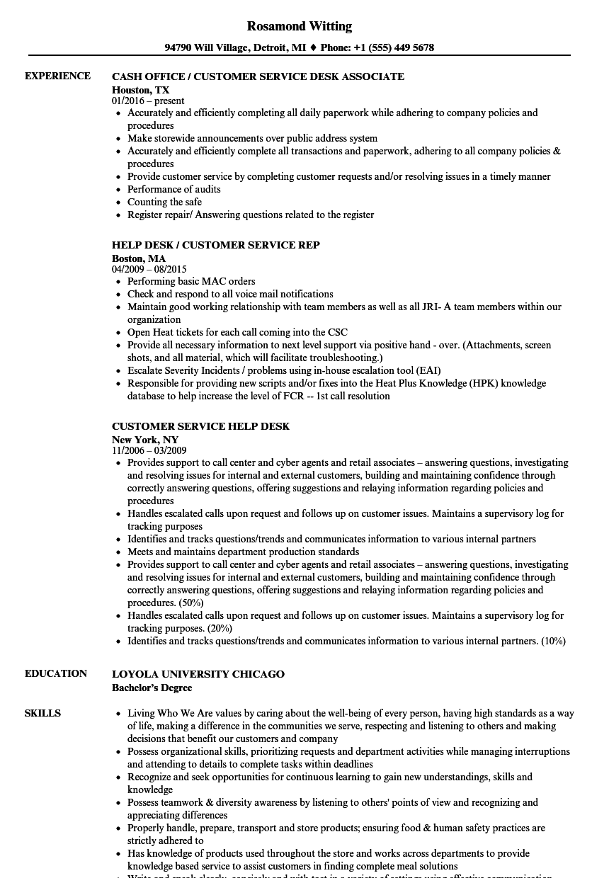 Customer Service Desk Resume Samples Velvet Jobs
