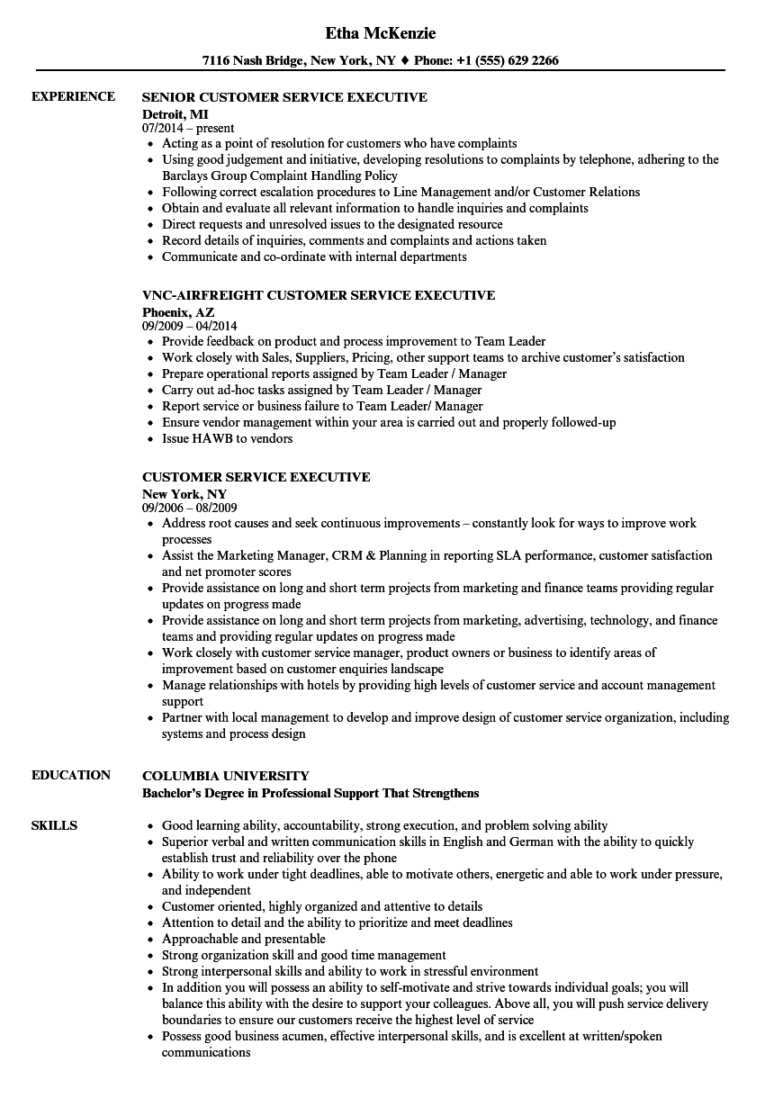Customer Service Executive Resume Samples | Velvet Jobs