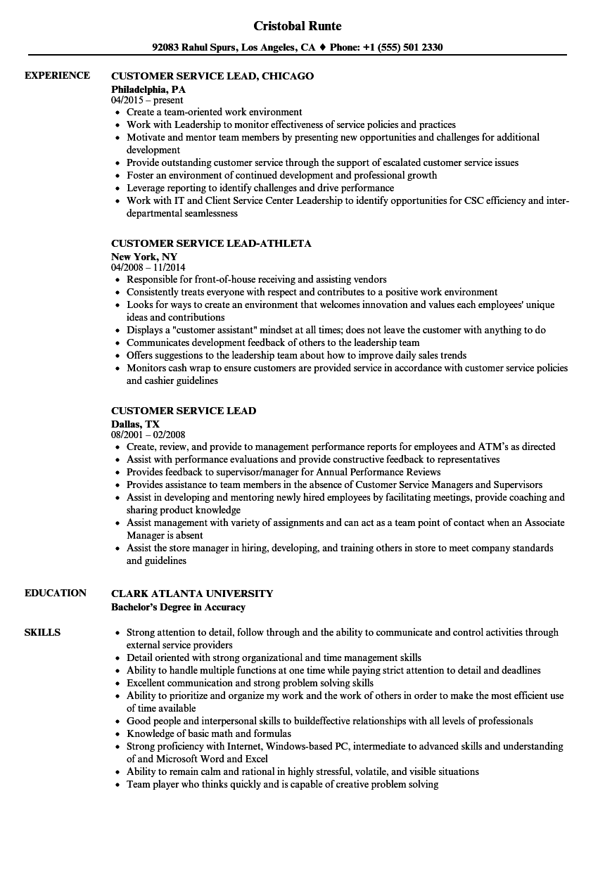 download customer service lead resume sample as image file