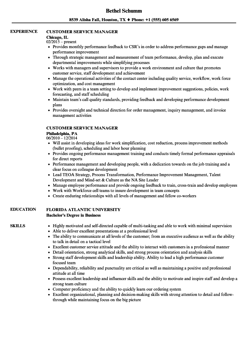 Customer Service Manager Resume Samples | Velvet Jobs