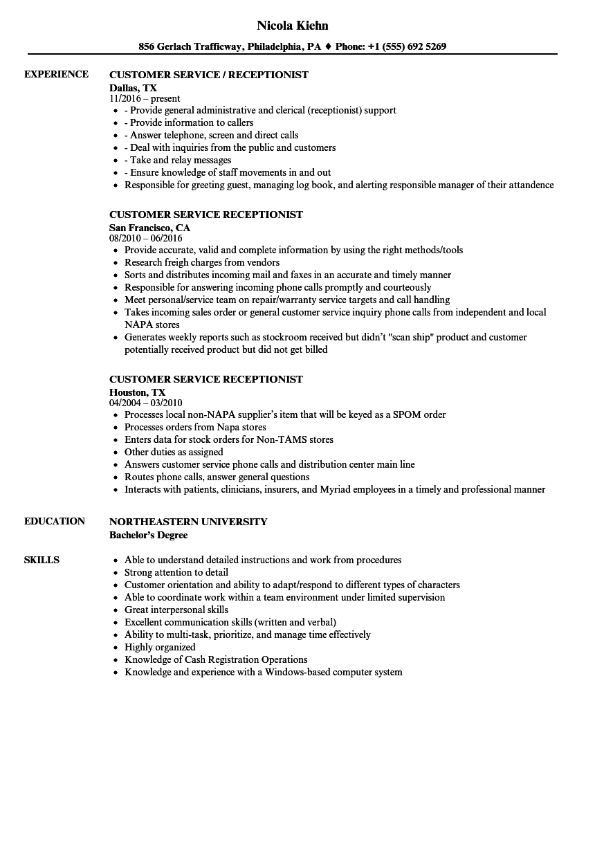 Customer Service Receptionist Resume Samples | Velvet Jobs