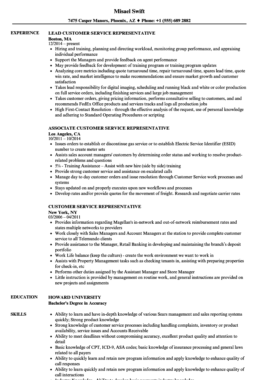 Customer Service Representative Resume Samples Velvet Jobs