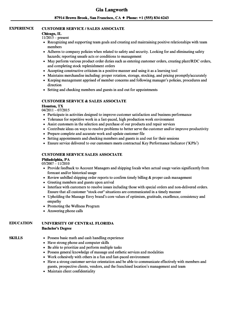 customer service sales associate resume samples