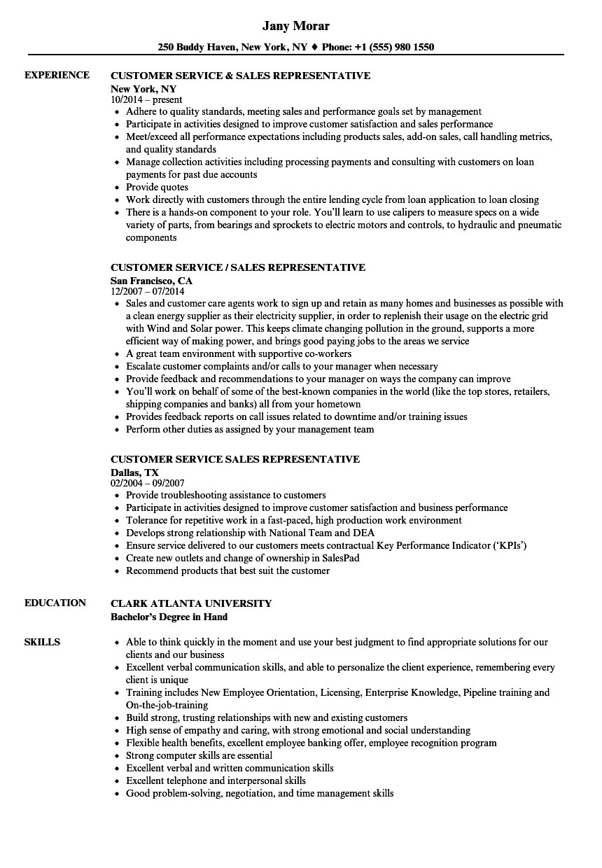 customer service  u0026 sales representative resume samples